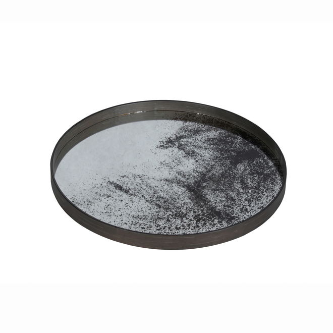 Clear Heavily Aged Mirrored Tray, view of mirrored base