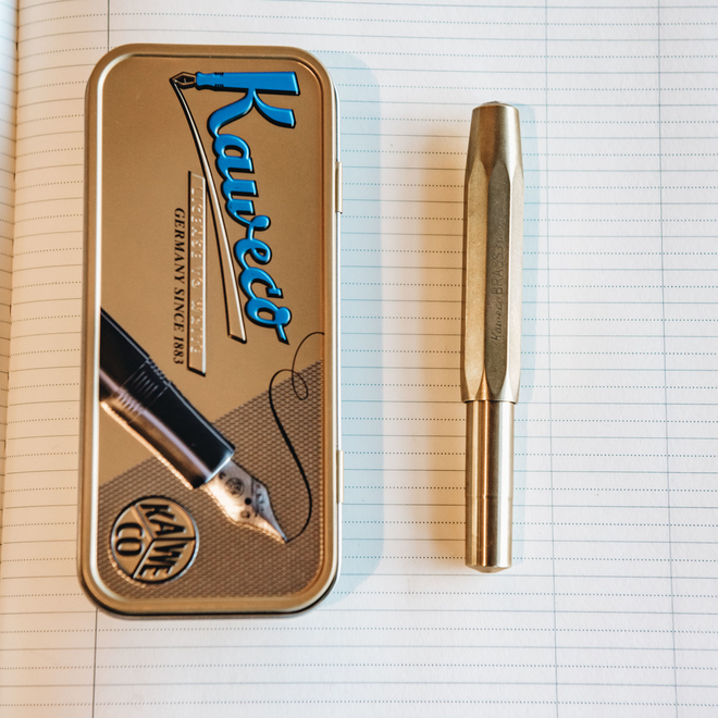 Kaweco Fountain Pen Brass Sport (cap on), with tin