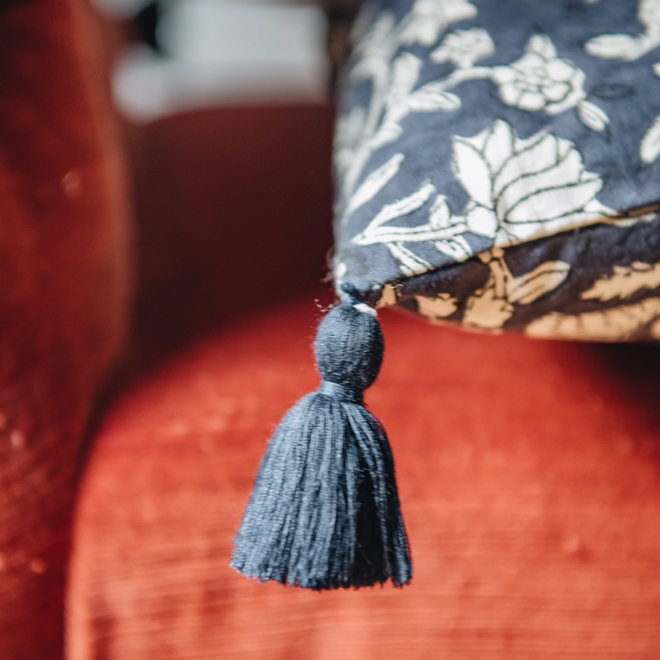 Komati Midnight Cushion (detail of tassel)