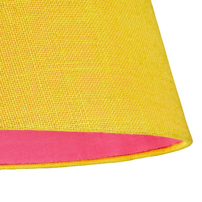 Pooky Straight Empire Lampshade in Yellow Jute with Pink Lining (detail)