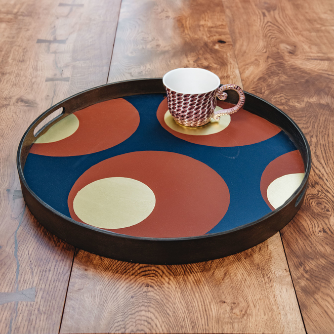 Turkish Dots Glass Tray (cup not included)
