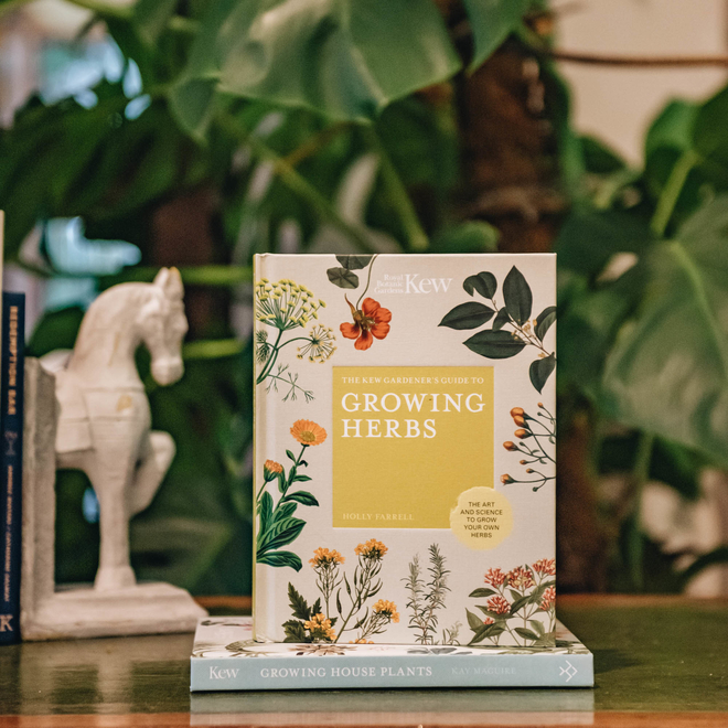 The Kew Gardener's Guide to Growing Herbs (the horse bookend is available in store)