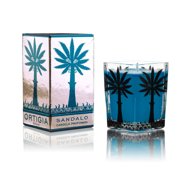 Ortigia Sicilian Candles in Ridged Glass Melograno