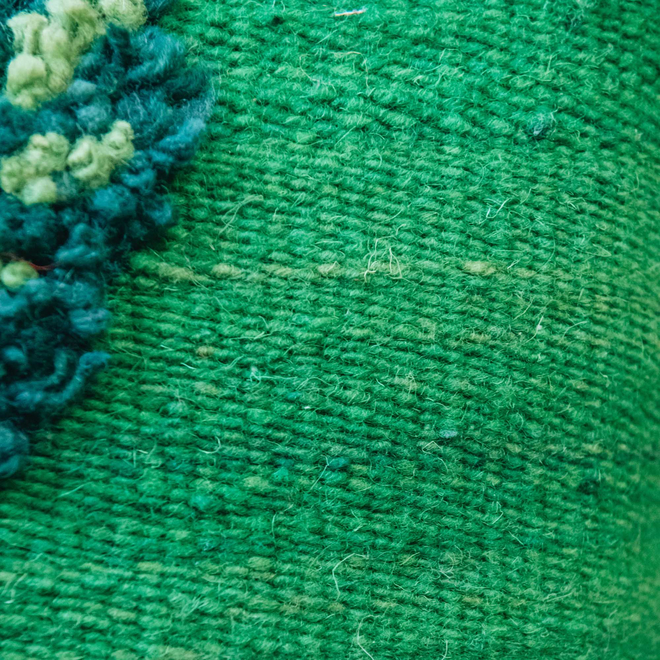 Albanian Knotted Flower Cushion Green Small fabric detail