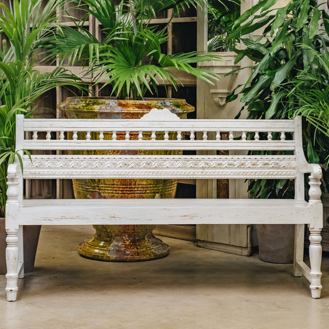Bobbin Indian Mango Wood Bench Ivory