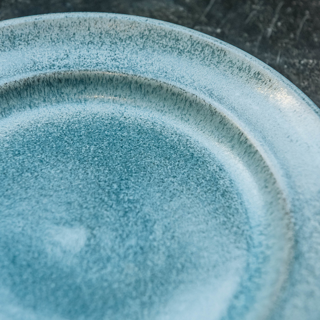 Stoneware Salad Plate, Light Blue (detail)