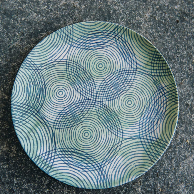 20cm Colourful Circles Bamboo Plate