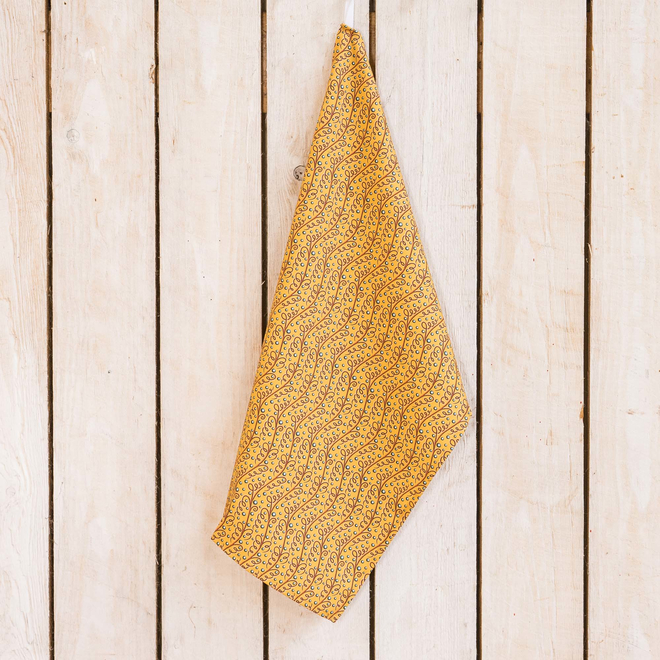 Cressida Bell for Burford Tea Towels, Yellow Spirals and Dots