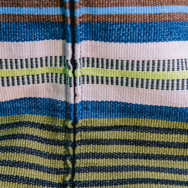 Dolores Azul Cushion, detail showing closure