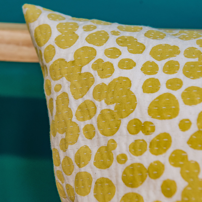 Puddles Cushion Yellow, detail