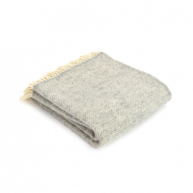 Burford Fishbone Wool Throw Silver Grey
