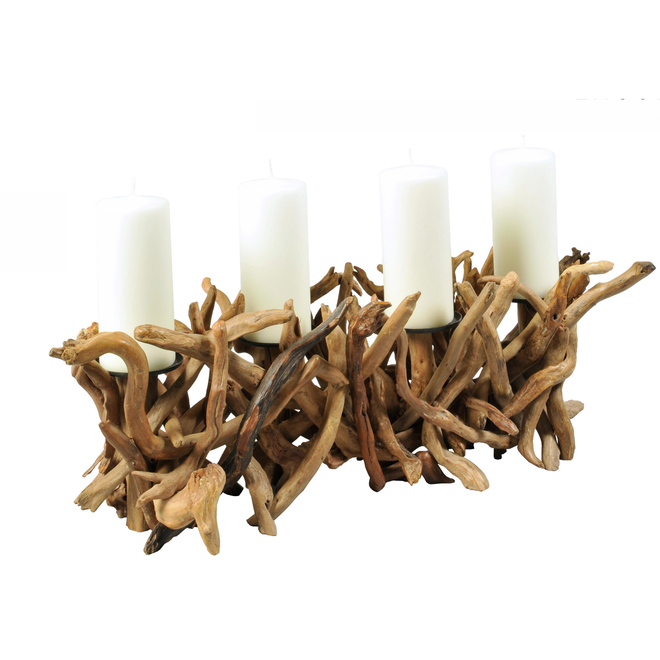 Driftwood Quad Candleholder (candles not included)