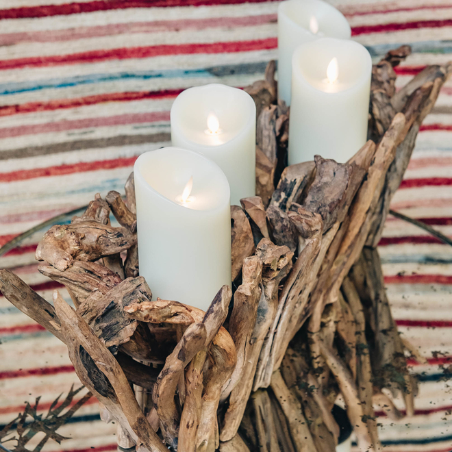 Driftwood Quad Candleholder (flameless candles available separately)