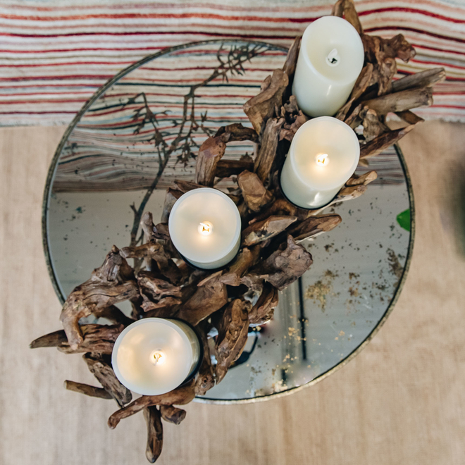 Driftwood Quad Candleholder from above (flameless candles available separately)