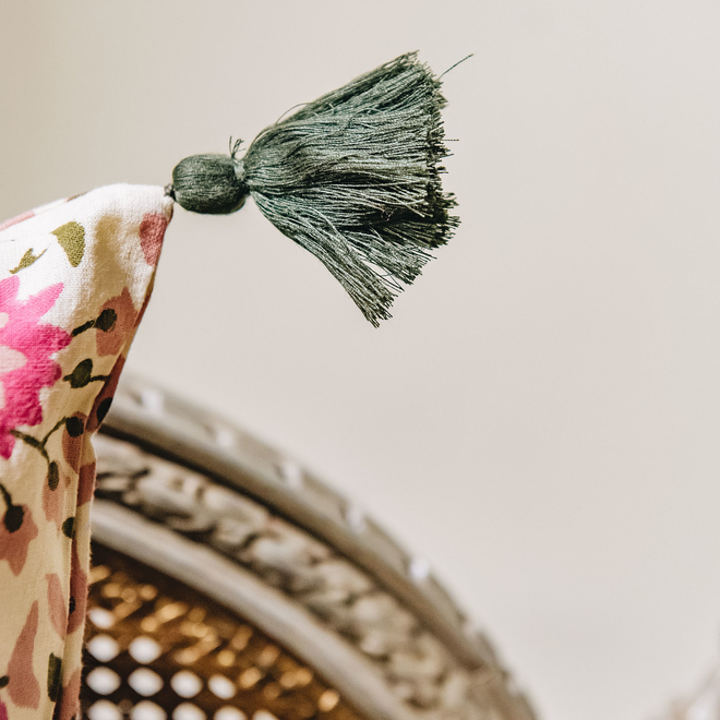 Kollam Blush Cushion (detail of tassel)