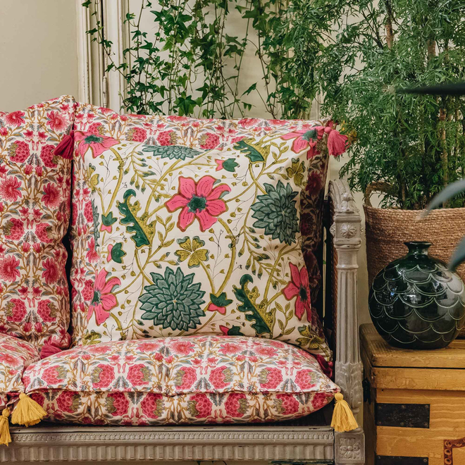 Sitapur Parrot Cushion (against back of chair)