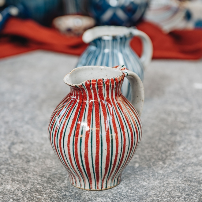 Selborne Small Rounded Bellied Jug - Red Pinstripe
