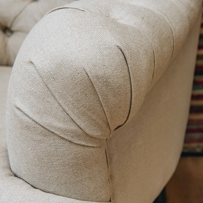 St James Cream Button Back Occasional Armchair arm detail