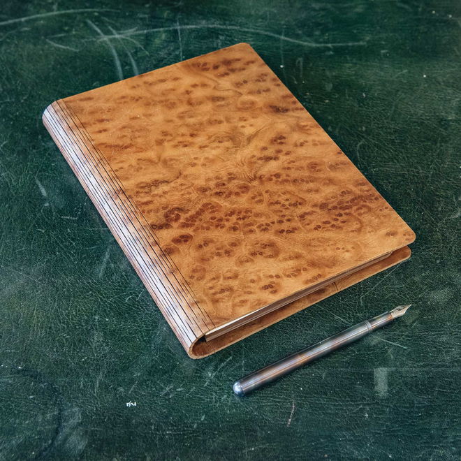 Wooden Cover A5 Notebook, Camphor Burr (pen not included