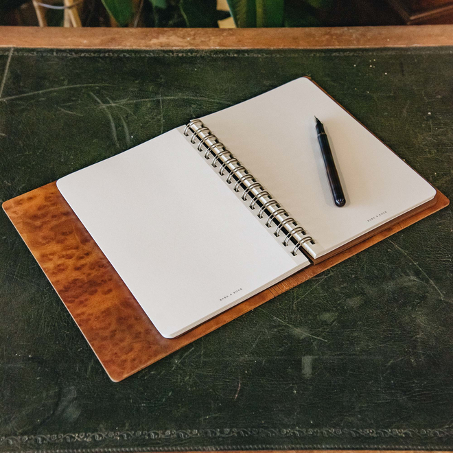 Wooden Cover A5 Notebook, Walnut Burr, pen not included