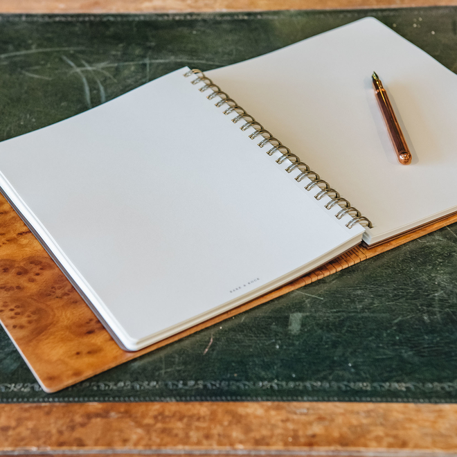 Wooden Cover A5 Notebook, Walnut Burr, interior view, pen not included