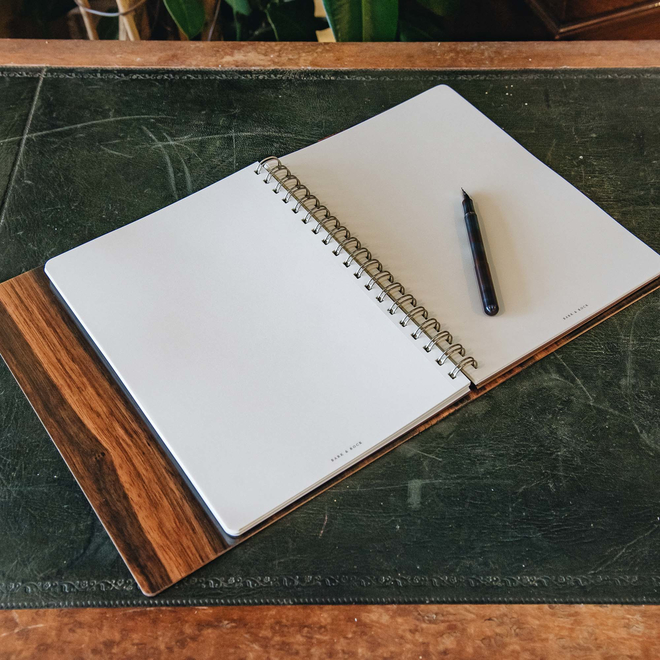 Wooden Cover A5 Notebook, Ebony Amara, interior view (pen not included)