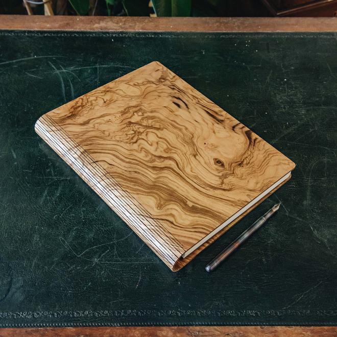 Wooden Cover B5 Notebook, Olive Ash Burr