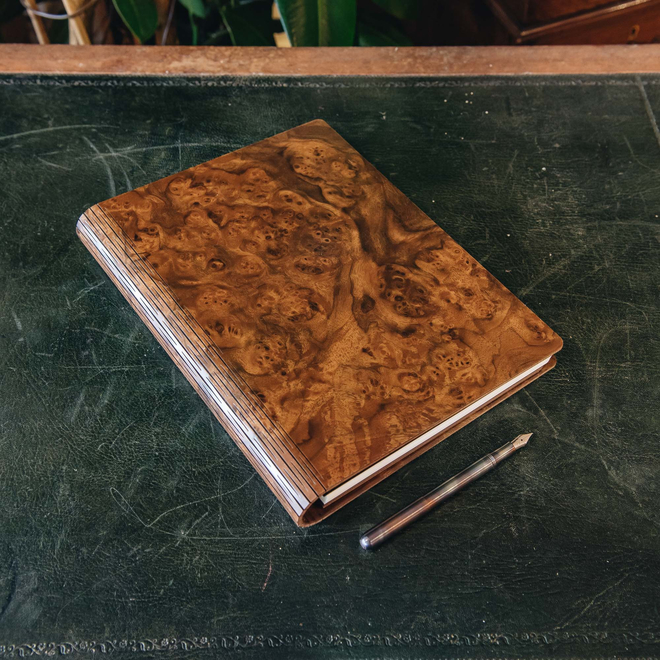 Wooden Cover B5 Notebook, Walnut Burr (pen not included)
