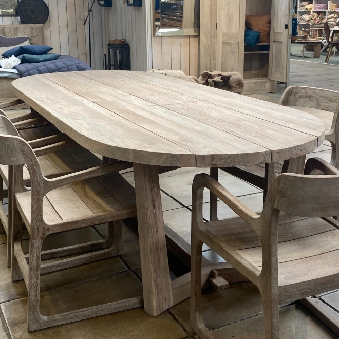 Dan Indoor/Outdoor Teak Dining Table Large with Sally Chairs