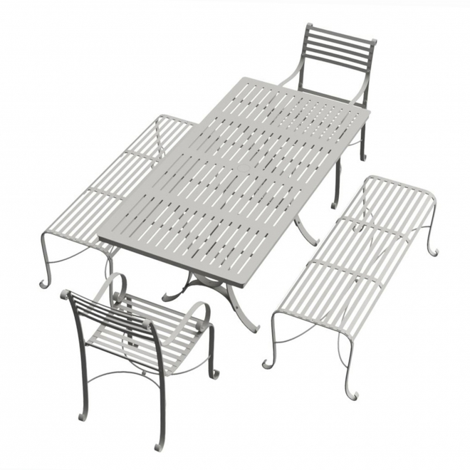 8-Seater Rectangular Garden Dining Bench & Chair Set