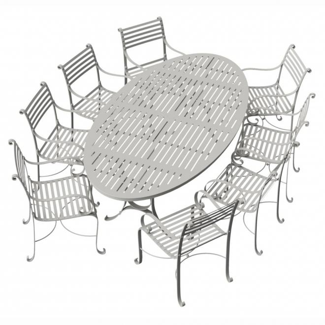 8-Seater (240cm) Oval Garden Dining Set with 8 Carver Chairs