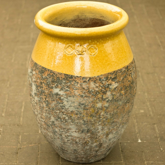 French Olive Pot with Glazed Neck, Yellow