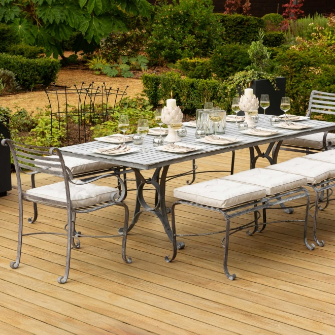 10-Seater Rectangular Garden Dining Bench & Chair Set (cushions not included)