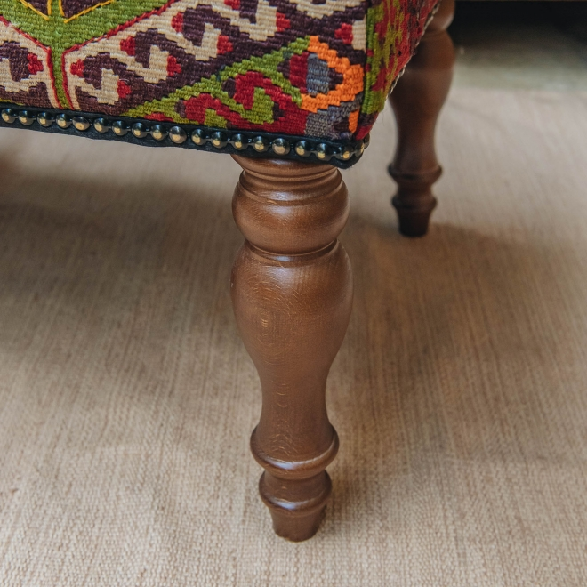 Kilim Bench (gold background) detail of leg