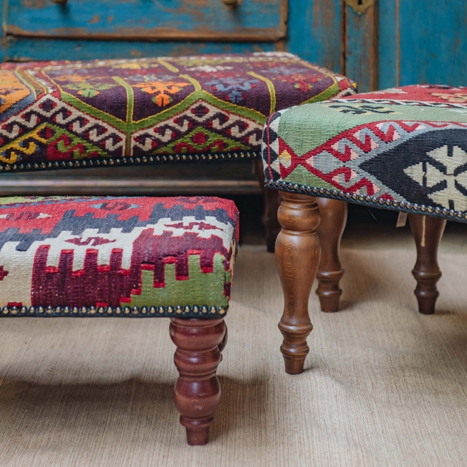 Kilim Bench (gold background) back