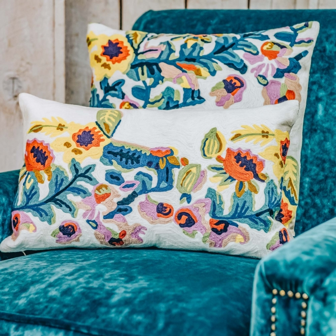 Daphne Embroidered Long Cushion Lifestyle