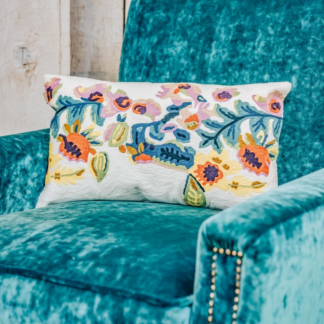 Daphne Long Embroidered Cushion