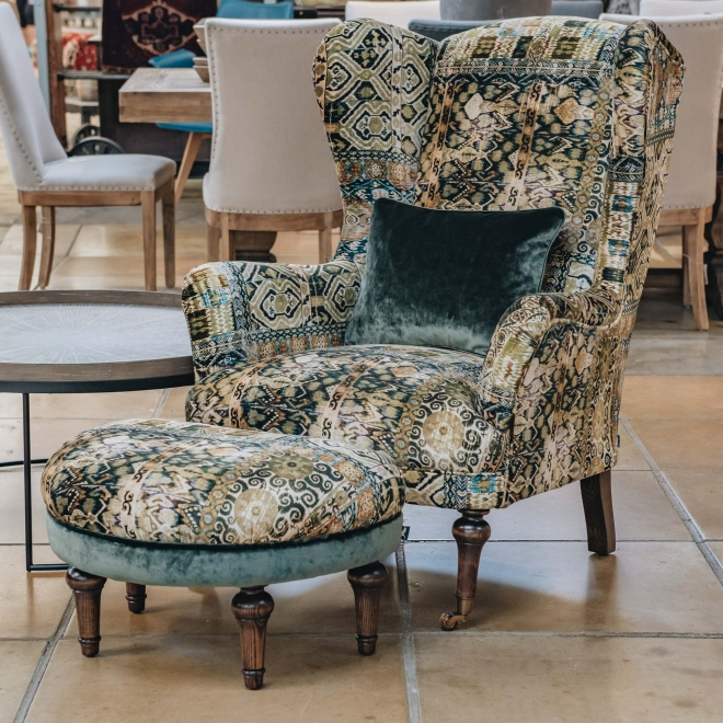 Crawford Armchair Rio Olive, shown with Crawford Stool
