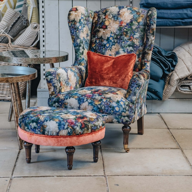 Crawford Armchair Royal Garden Sapphire, shown with footstool, supplied separately
