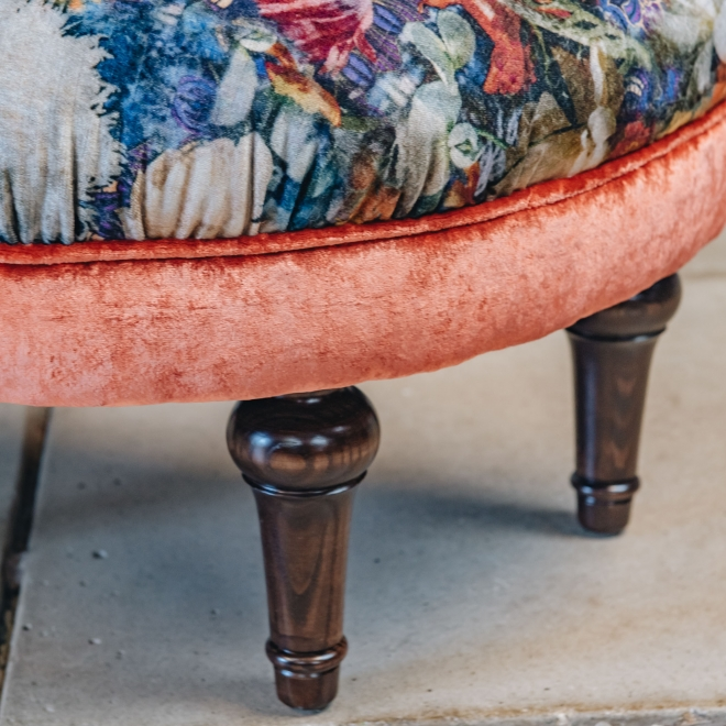 Crawford Stool Royal Garden Sapphire, detail of turned legs