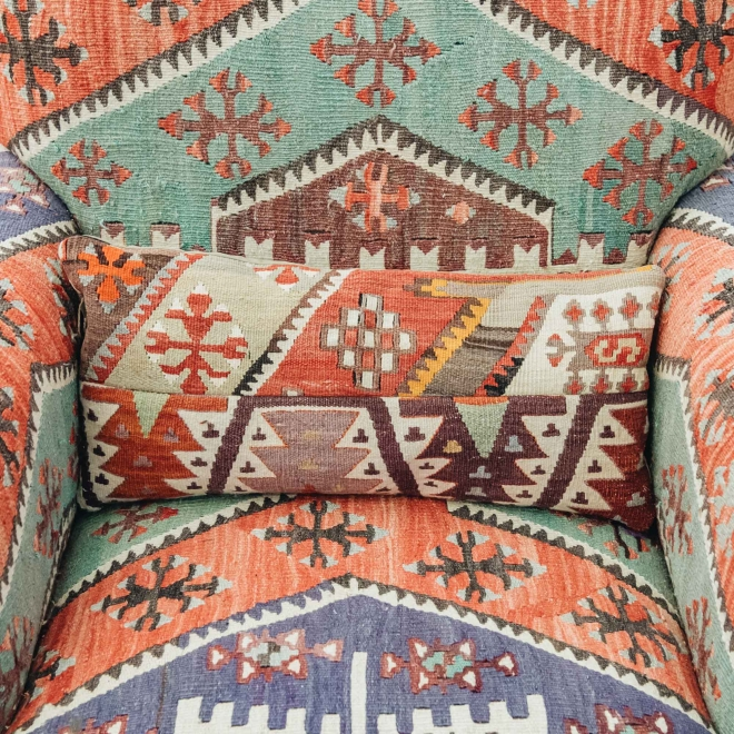 Kilim Armchair, Pastel, detail, with cushion, not supplied