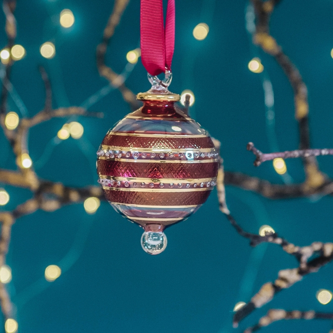 Eternity Coloured Glass Bauble - Red