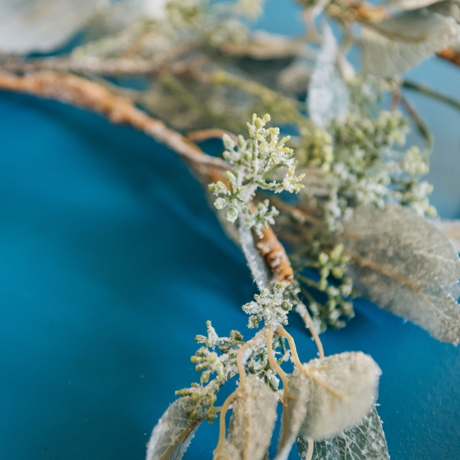 Frosted Eucalyptus Garland, detail