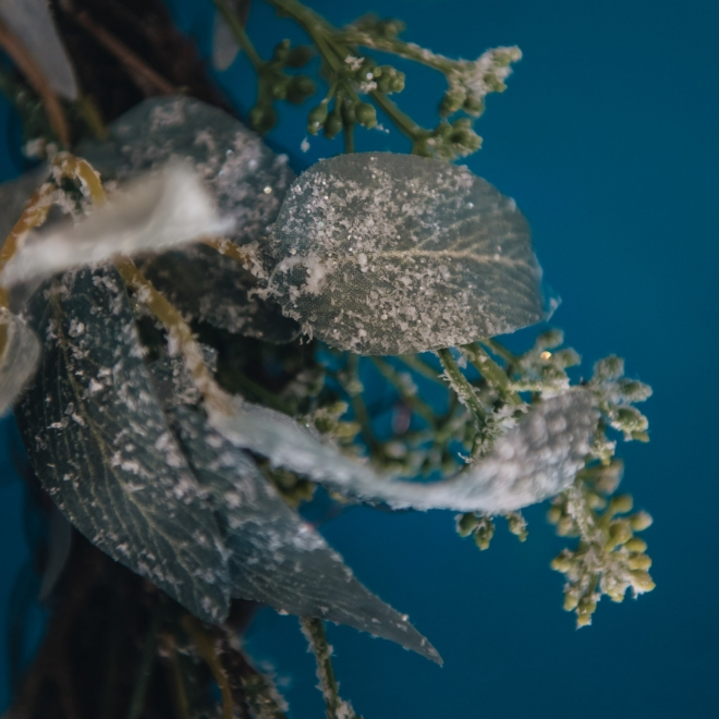 Frosted Eucalyptus Wreath, detail