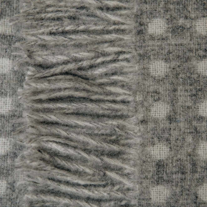 Grey Spot Throw, detail of tassellling