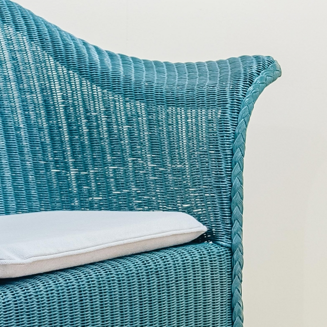 Teal Classic Lloyd Loom Armchair with seat pad (included)