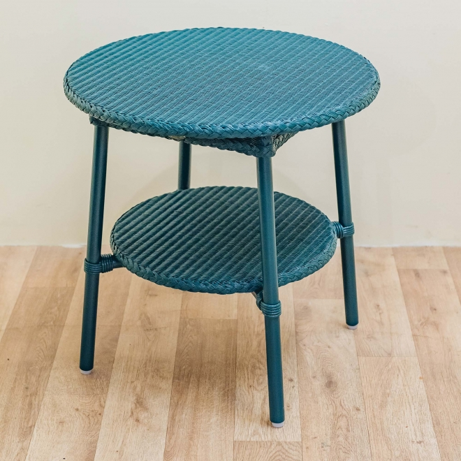 Classic Lloyd Loom Round Coffee Tables in Teal