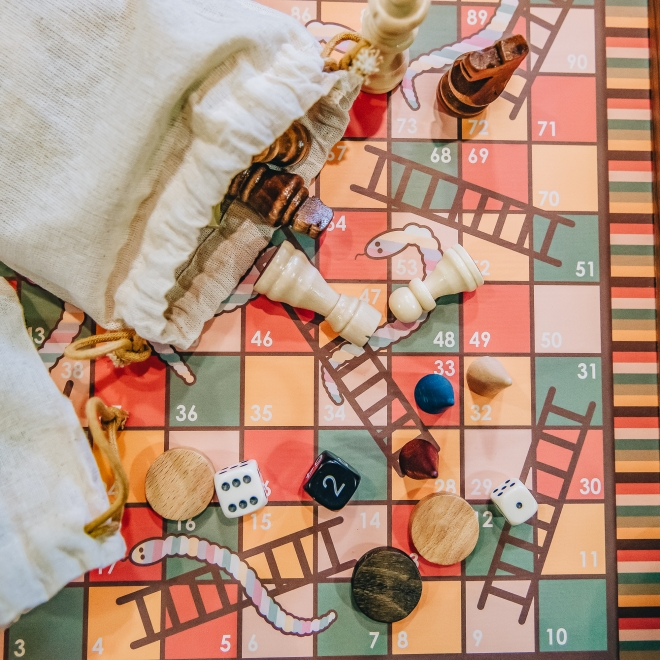 Combination Games Set, detail with pieces (in bag)