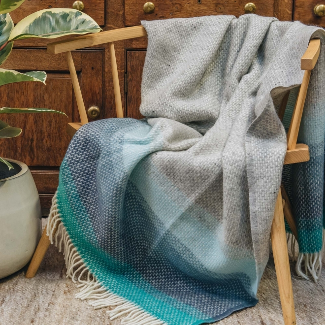 Burford Ombre Throw Seaside Blue