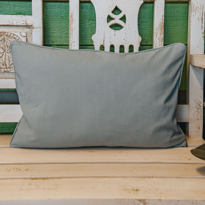 Pink and Mouse Grey Stripe Cushion, reverse